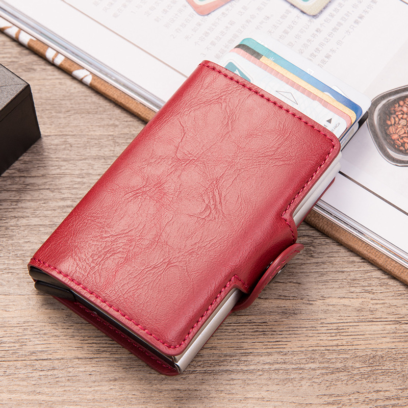 Double Aluminum Leather Credit Card Holder Men Women RFID Metal Wallet Automatic pop up Anti-theft Purse Business ID Cardholder
