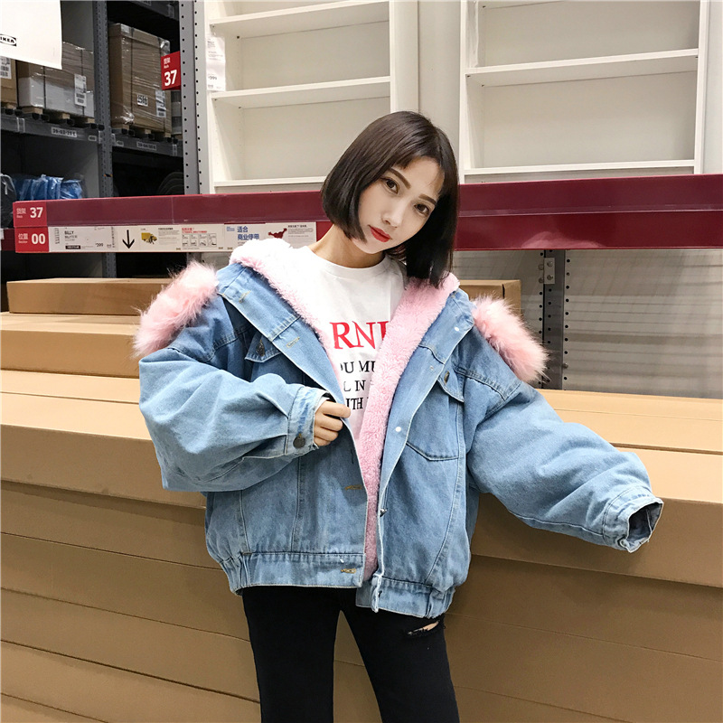 Autumn And Winter WOMEN'S Dress Korean-style Fashion Thick Plush Fur Collar Jeans Coat Loose-Fit Short Plus Velvet Lambs Wool Co