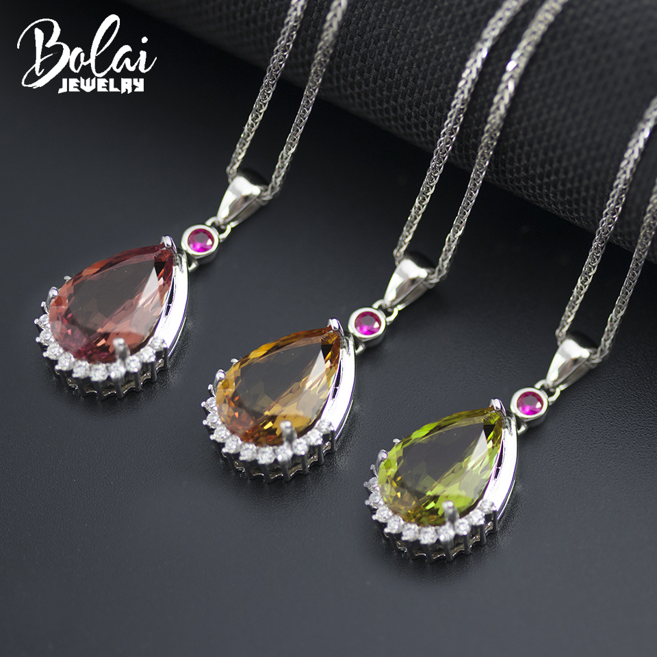Bolai 14*10mm color change zultanit pendant necklace 925 sterling silver created diaspore gemstone jewelry for women gift 2019