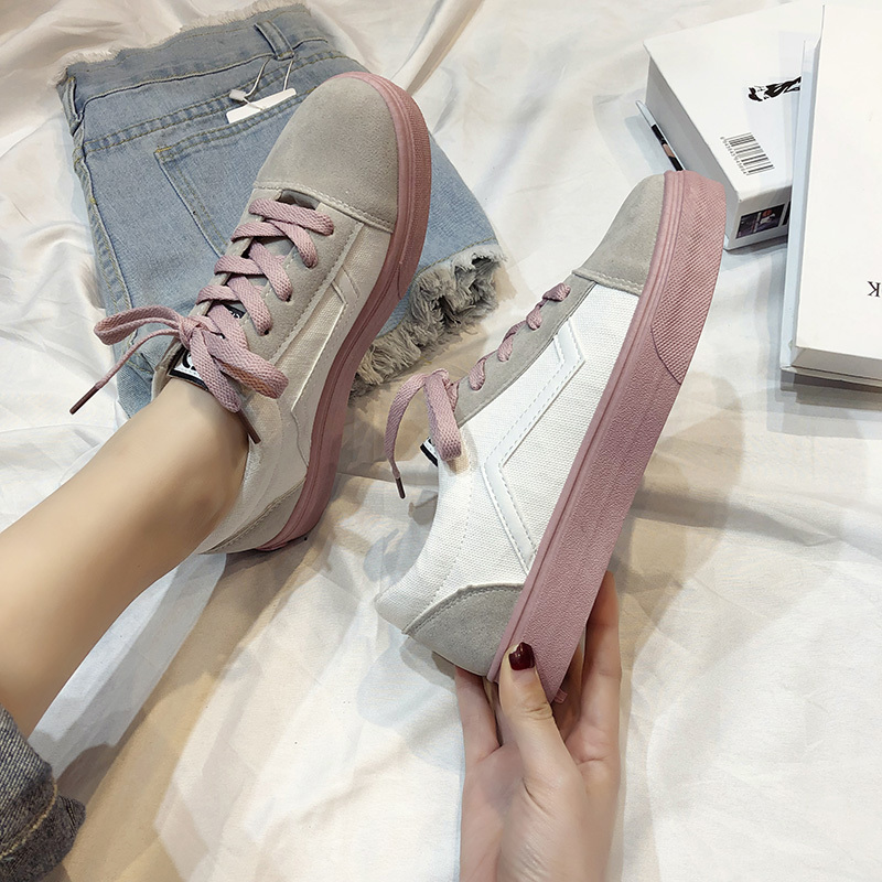 2020 Spring Women's Vulcanize Shoes Fashion Wild Light Canvas Flat Shoes Ladies Casual Low Lace-up Fashion Sneakers T567
