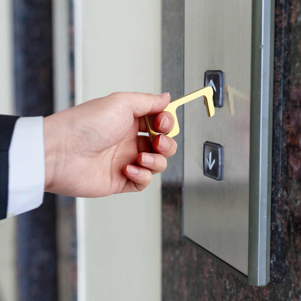 非接触安全ドアオープナー非接触 edc ドアオープナー安全保護分離真鍮色キードアハンドルクリーンアップキー