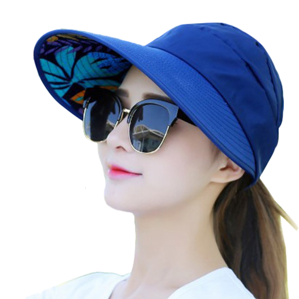 Flower Printed Folding Wide Brim Summer Girls Sun Hat Fashion Women Casual Hat  Beach UV-Proof Travel Sun Ladies Floppy Cap