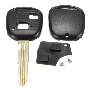 Image 2 - 2 Buttons Lock and Unlock Remote Key Fob Shell Rubber Pad Switch Blade Key Case Black Repair Replacement Cover For Toyota Yaris