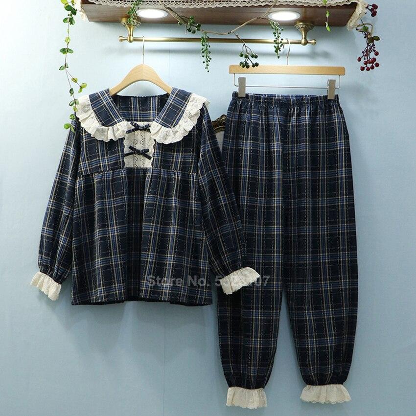 Full Sleeve Woman Pajamas Set Renaissance Court Princess Lolita Loungewear Cotton Spring Autumn Plaid Lace Cute Sleepwear