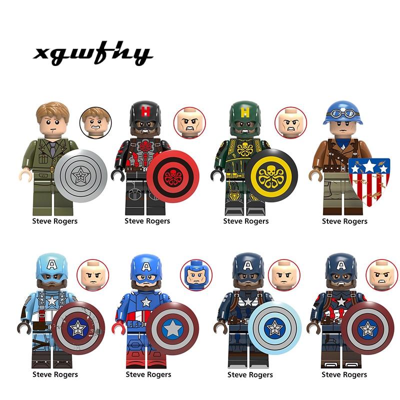 Single sales X0236 Captain America Steve Rogers With Shield Hammer Super Heroes Avengers DIY Building Blocks Kids Toys JM328