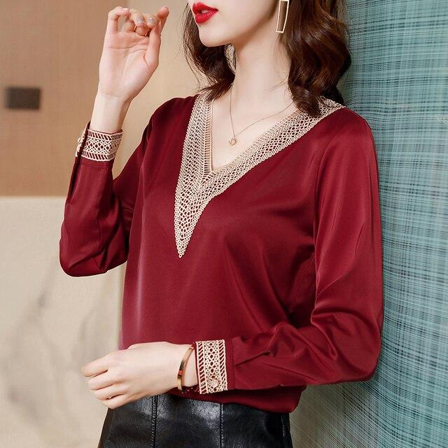 Blouses Femme Tops Women Long Sleeve Blouse Women Blusas Mujer De Moda 2021 V-Neck Solid Chiffon Blouse Shirt Blusas Mujer E653 4