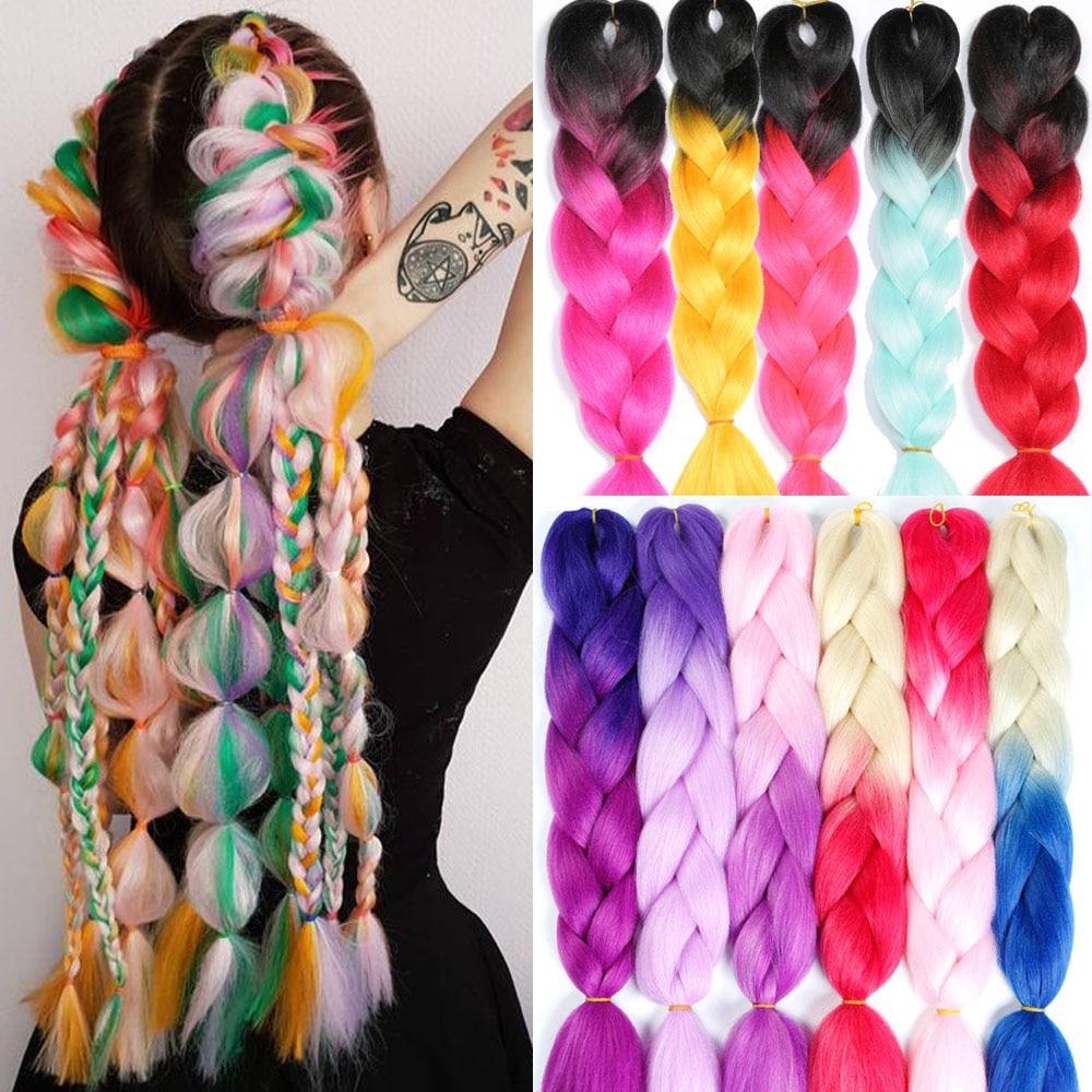 Jumbo Ombre Braids Hair 24 inch Pink Synthetic Hair Extensions Crochet Braiding Hair Yaki Soft Hair Crochet For Braid 100 Colors