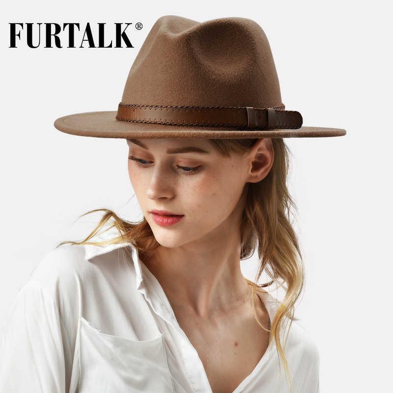 Furtalk 100% Australia Wol Fedora Hat Wanita Pria Topi Wanita Fedoras Topi Jazz Merasa Topi Vintage Musim Gugur Musim Dingin Topi 2019