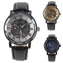 Men Top Faux Leather Band Roman Numerals Hand-Wind Mechanical Watches Waterproof