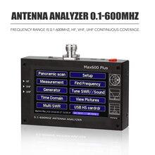 Analisador 0.1 600 mhz 5 v/1.5a da antena da frequência ultraelevada do hf de max600 plus com a onda ereta de digitas da tela de toque de 4.3 polegadas tft lcd