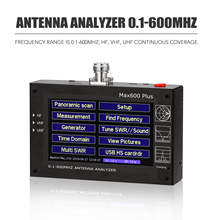 Max600 בתוספת HF VHF UHF אנטנת Analyzer 0.1 600MHz 5 V/1.5A עם 4.3 אינץ TFT LCD נגיעה מסך דיגיטלי עומד גל