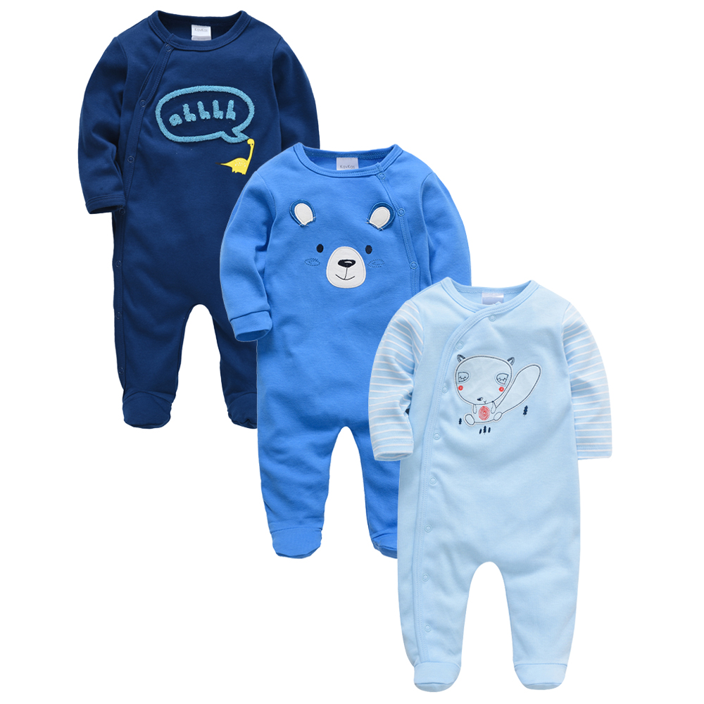 Honeyzone Christmas Baby Clothes 3pcs/lot Knitted Cotton Cartoon Print 3 6 9 12Month Ropa Bebe Baby Girl Romper Winter New Baby