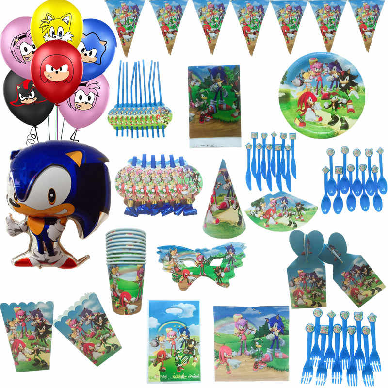 20pcs Sonic The Hedgehog Party Disposable Tableware Set Happy Birthday Party Decor Kids Paper Napkins Plate Cup Party Supplies Aliexpress