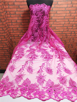 African Embroidered Tulle Lace Fabric High Quality Pink Nigerian Bridal Lace Fabrics French Net Lace For Evening Party