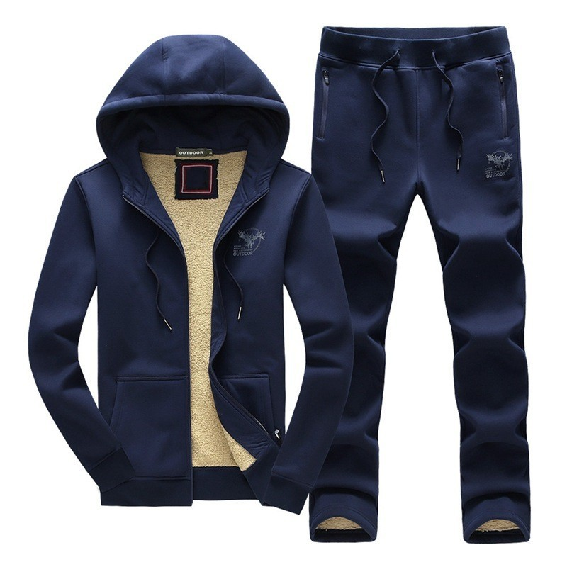 Winter New Casual Hooded Sweatshirt Mens Two Pieces Sets Brand Cotton Thick Warm Tracksuit Pants Men Plus Size 3XL Sport Suit