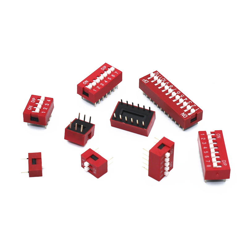 10Pcs Slide Type Switch Module 1 2 3 4 5 6 7 8 9 10 12 Bit 2.54mm Position Way DIP Red Pitch Toggle Switch Red Snap Switch