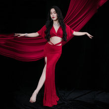 Practice-Clothes Short-Sleeve Belly-Dance-Dress Long-Skirt Sequins Split-Performance
