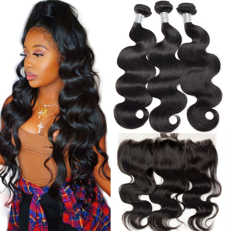 Alibele Brazilian Body Wave Bundles With Frontal Closure10-30in M Remy Human Hair 3 Bundles With 13x4 Ear To Ear Frontal Closure