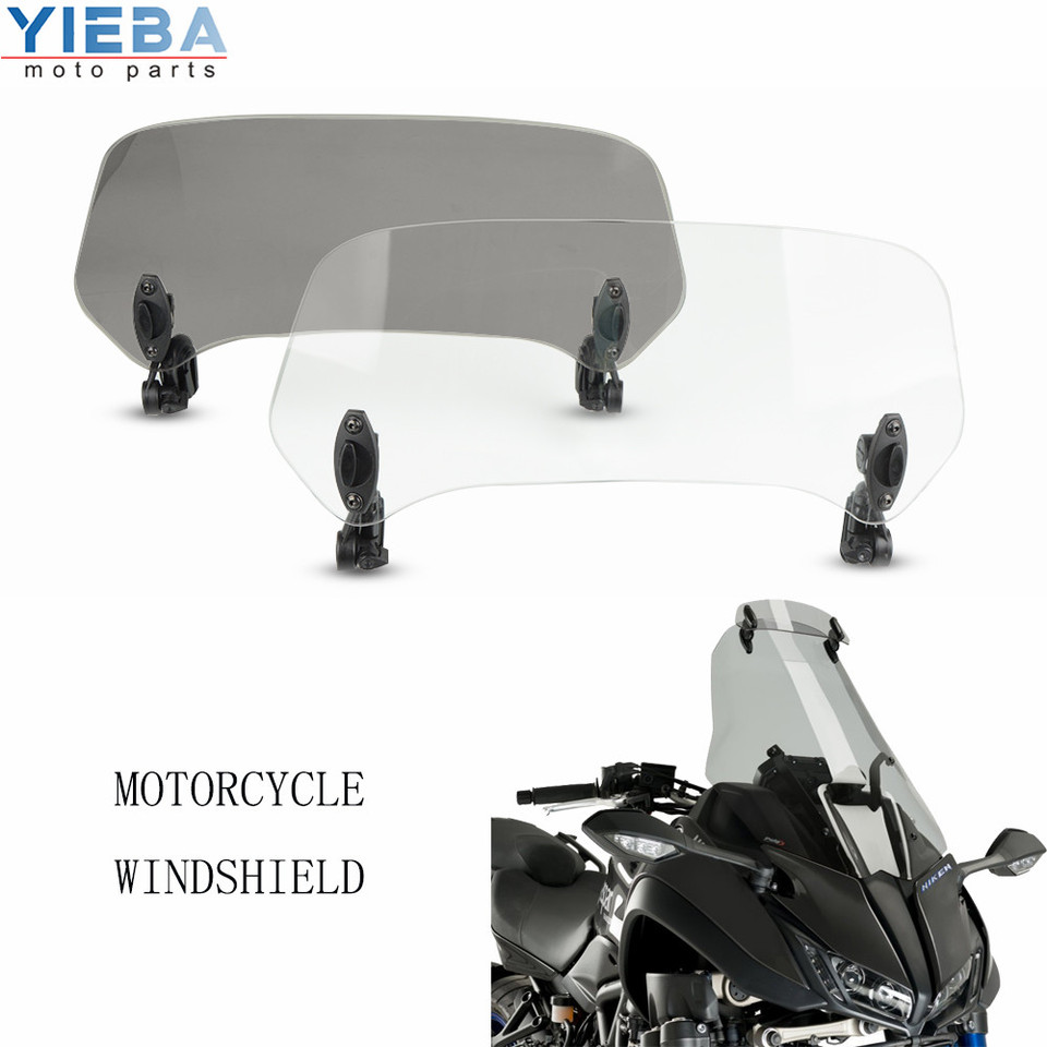 Sporacingrts Motorcycle Adjustable Extension Windshield White Clear Lens for Honda Suzuki Triumph BMW R1200GS