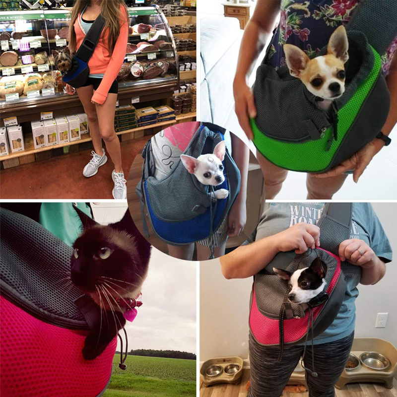 Pet Dog Cat Sling Carrier Breathable Travel Safe Sling Bag Puppy Kitten  Outdoor Mesh Oxford Single Comfort Handbag Tote Pouch|Carriers & Strollers|  - AliExpress