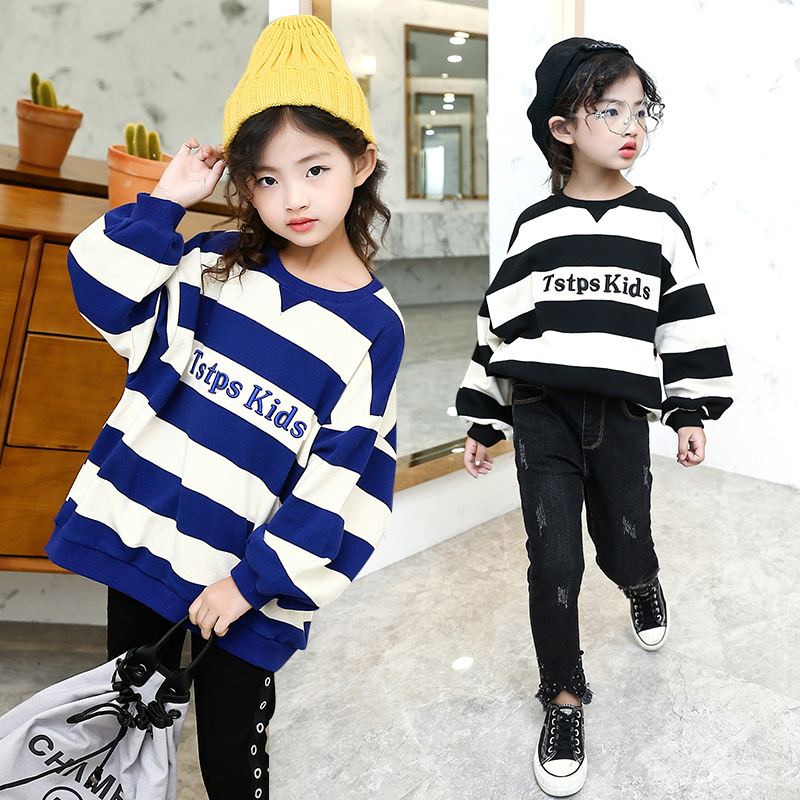 Toddler Girl Long Sleeve Shirts Autumn Kids Stripe Pullover Blouse Tops Children's Winter Warm Clothes for Girls 8 10 12 Years