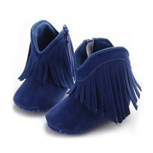 OUTAD Baby Girls Shoes Warm Winter Tassels Newborns Boots Fashion Snow Anti-slip Boots Toddler Solid Fringe Baby moccasins Moccs(China)