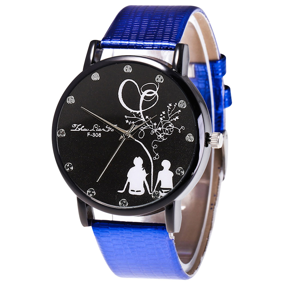 Fashion Quartz Watch Mens Women Couple Electronic Watch Love Tree With PU Wrist Strap LL@17