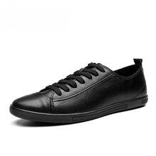 Uomini mocassini Taglia 38 46 Scarpe di Cuoio degli uomini di Casual Autunno Pattini di Cuoio Genuini di Modo Degli Uomini di scarpe da Uomo nero in pelle