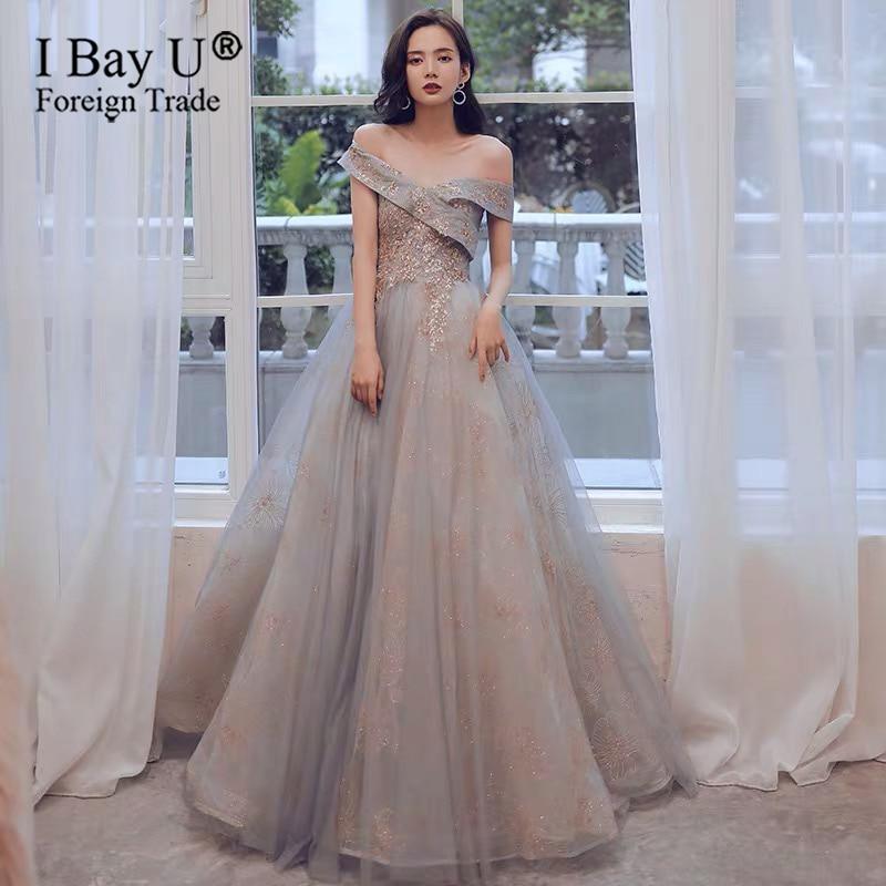 In Stock New Banquet Elegant Evening Dress Off Shoulder Lace Appliques Floor-length Long Prom Formal Gown Vestidos De Noche