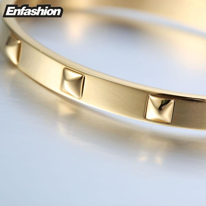 Купить enfashion браслет из шипы пирамиды нержавеющей стали золотого