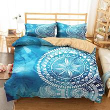 Bedding Clothes Home Textiles Dream Blue Mandala Printed Duvet Cover with Pillowcases for Adult Queen Single Size bedding clothes home textiles dream dark purple mandala printed duvet cover with pillowcases for adult queen double size