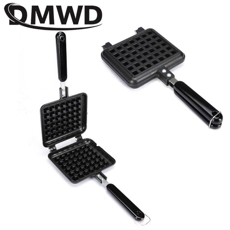 DMWD Household Cake Waffle Mould Mold Non-stick Press Plate Kitchen Gas Sandwich Egg Waffle Maker Pan Breakfast Iron Baking Tool