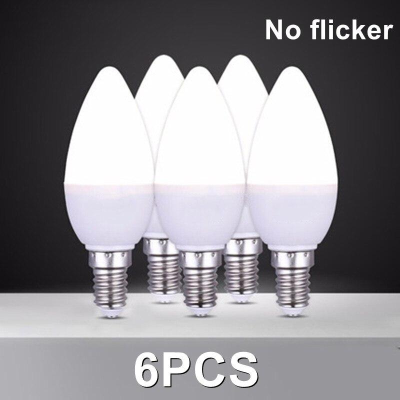 6 шт./лот Светодиодная лампа E14 E27 Светодиодная лампа внутреннего Теплый Холодный белый свет 7 Вт AC220V led лампы в форме свечи лампы домашнего де...