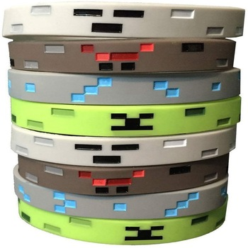 2020 Minecrafted Toy Figures Fashion Creative 8pcs Trendy Solid Color Concave Engraved Silicone Bracelet Gifts for Boys Girls