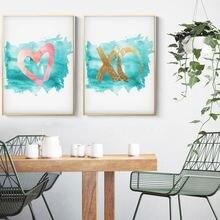 Минималистичный акварельный постер в виде сердца Бирюзовый коралловый