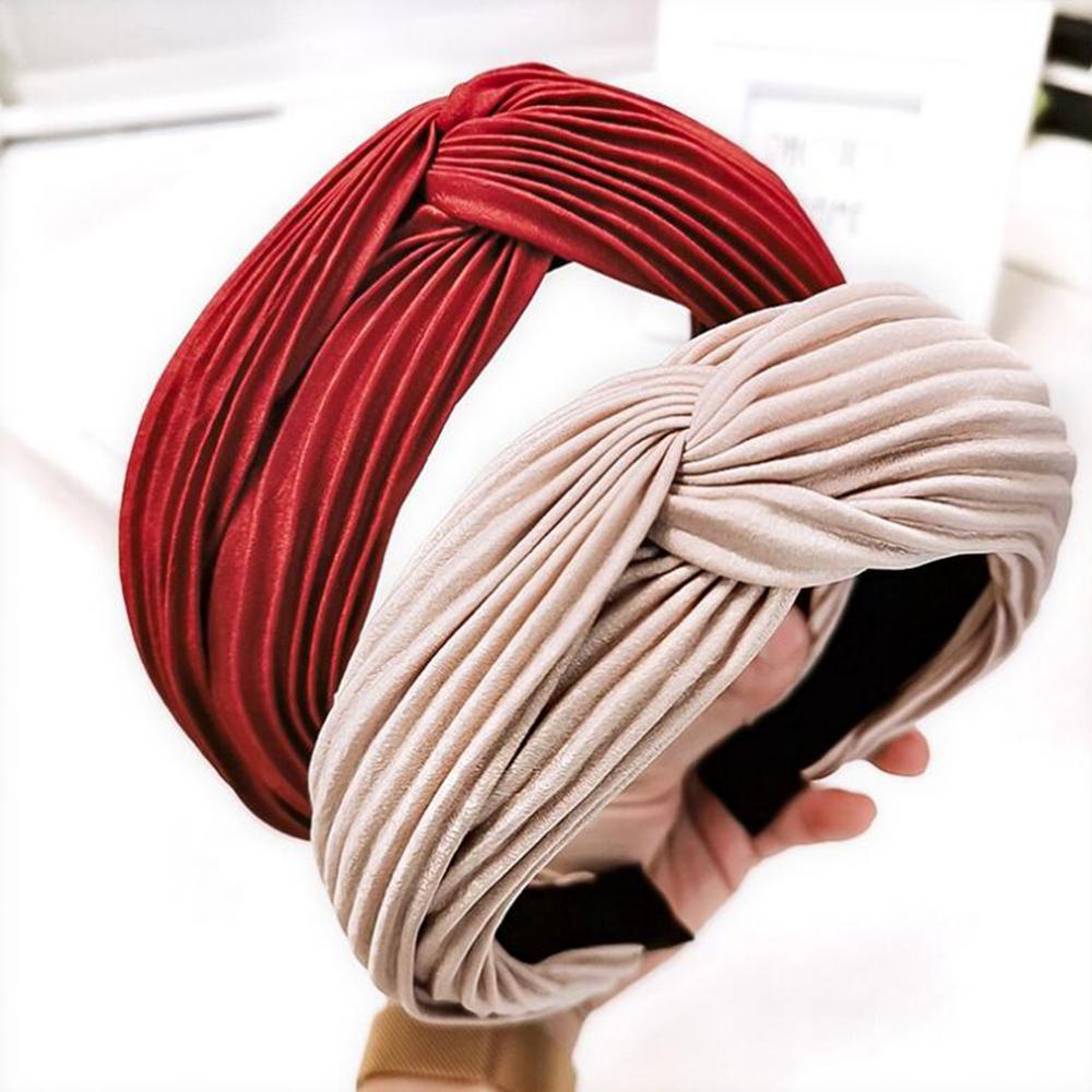 New Fashion Women Headband Cross Knot Crumpled Cloth Solid Hairband Adult Soft High Elastic Hair Band Female Hair Accessories
