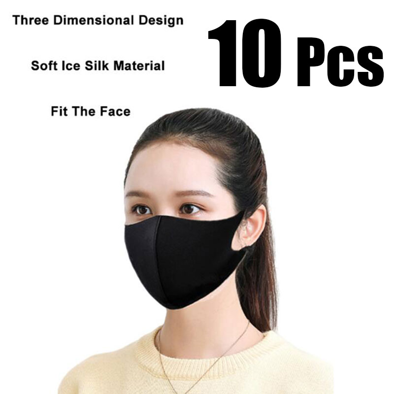 10 Pcs Black Face Mouth Mask Anti-Infection Virus Mouthmask For Unisex Anti-dust Mouth Facemask Wholesale Breath Straps Washable