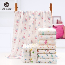Lets Make Baby Blanket Soft Muslin Diaper For Newborn Swaddle Wrap Animal Bear Elephant Whale Giraffe Knitted Children