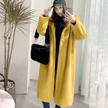 New Faux Fur Coat Women Autumn and Winter 2019 Casual Loose Hooded Long Thick  Outerwear