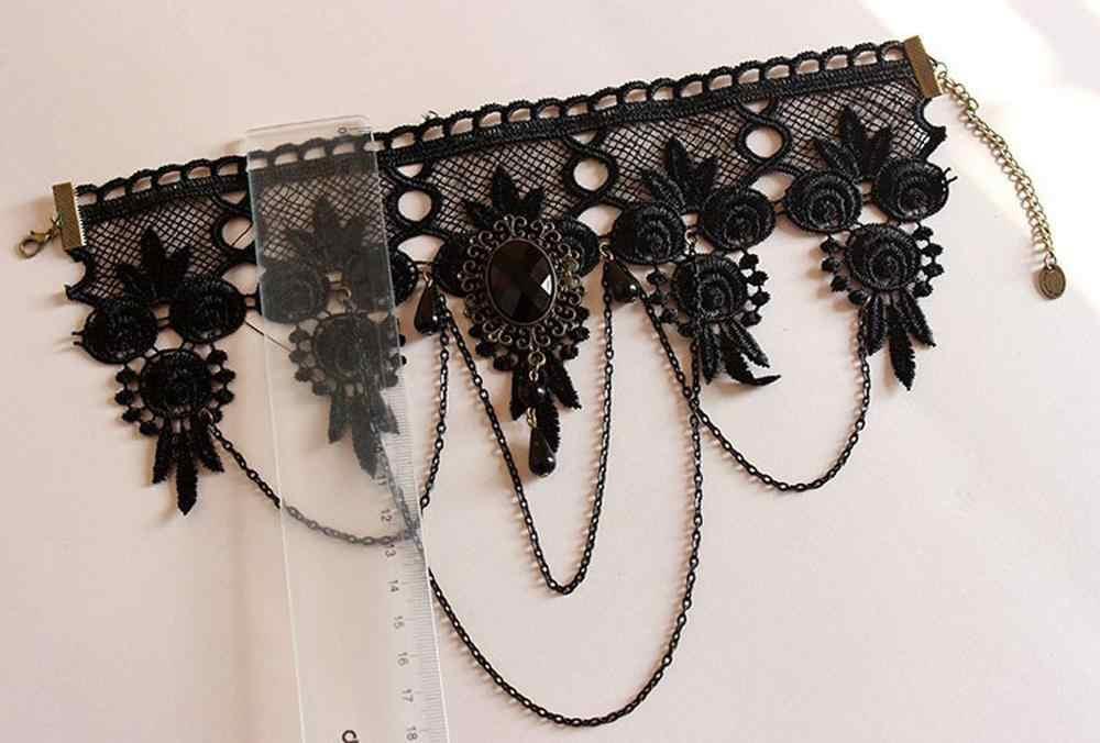 새로운 Collares 섹시한 고딕 Chokers 크리스탈 블랙 레이스 목 초커 목걸이 빈티지 빅토리아 여성 Chocker Steampunk 쥬얼리