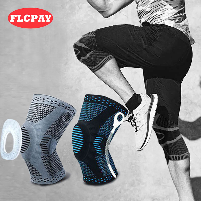 1piece Weaving Silicone Knee Sleeve Pads Supports Brace Volleyball Basketball Meniscus Patella Protectors Sports Safety Kneepads