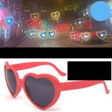 Amor coração forma óculos de sol feminino quadro de luz mudança amor coração lente colorida óculos de sol feminino vermelho rosa tons