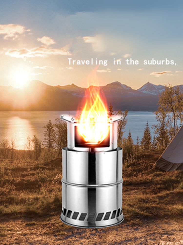 VILEAD Outdoor Cooking Burner Wood-Heater Stainless-Steel Portable Camping Fishing