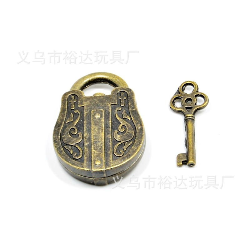 Vintage Metal Lock With Key Puzzle Toy Educational Toys Mind Brain Teaser Kids Educational Toys Brain Teaser IQ EQ Test Model image