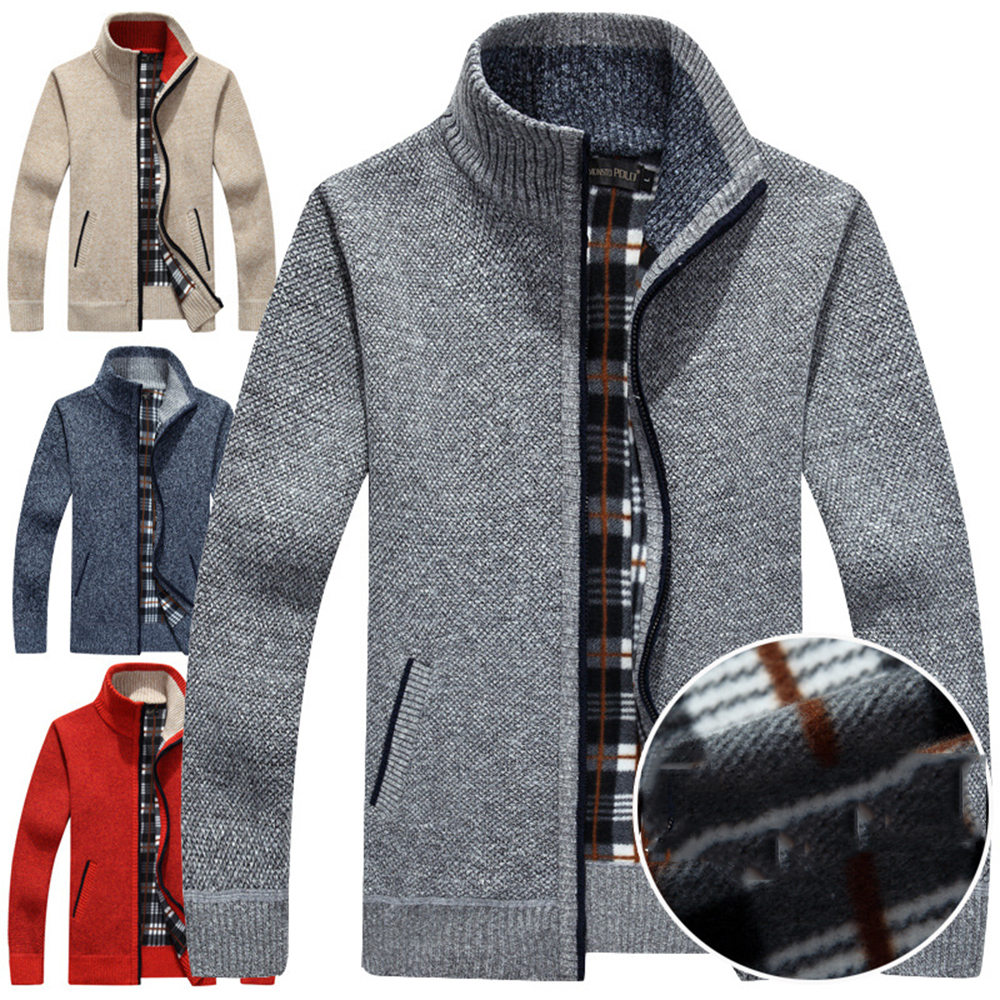 Knitting pure color cardigan sweater jacket qiu dong men coat leisure knit collar and velvet thickening zipper clothes