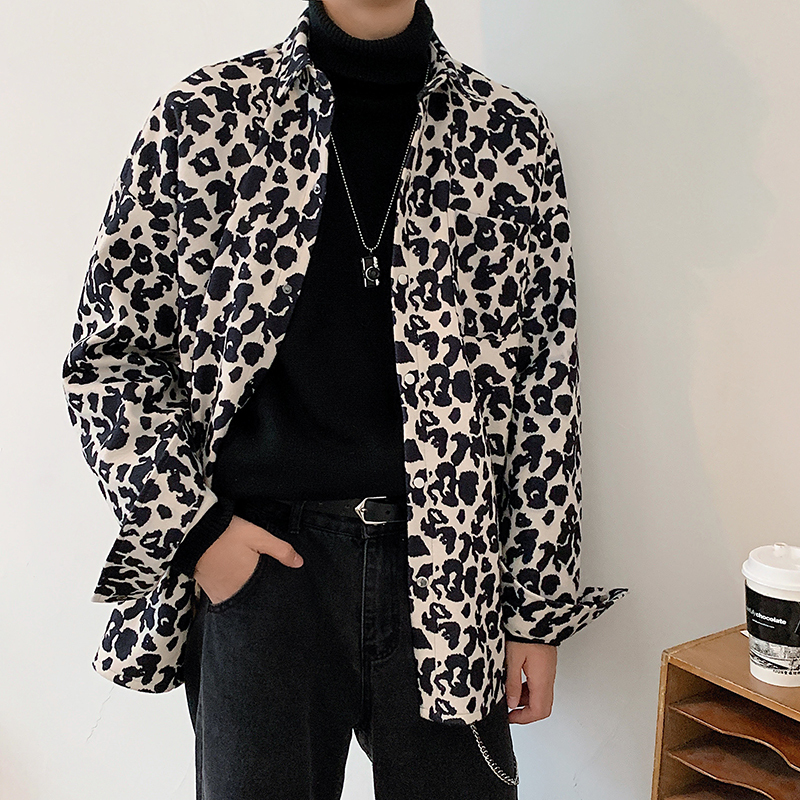 Autumn New Thick Leopard Shirt Men Fashion Casual Long-sleeved Shirt Streetwear Hip-hop Loose Leopard Jacket Coat Men M-2XL