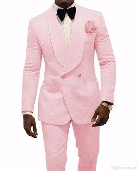 JELTONEWIN 2020 Customize Made Pink Jacquard Slim Groomsman Double Breasted Men Wedding Suits Groom Tuxedos For Men Bridegroom custom made men suits fashion groom suits tuxedos black lapel single breasted men wedding suits tuxedos groomsman suits jacket