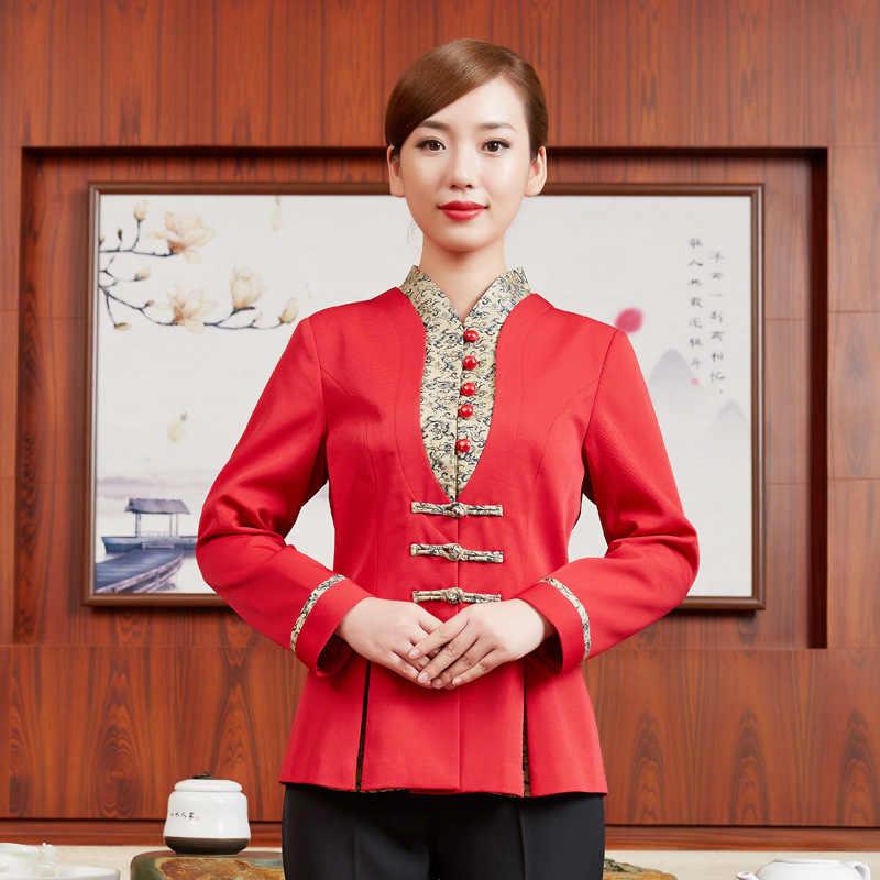Chaqueta de Gerente de Hotel para mujer uniforme de mozo de restaurante occidental cafetería uniforme de camarera ropa de trabajo de panadería Chef camisetas