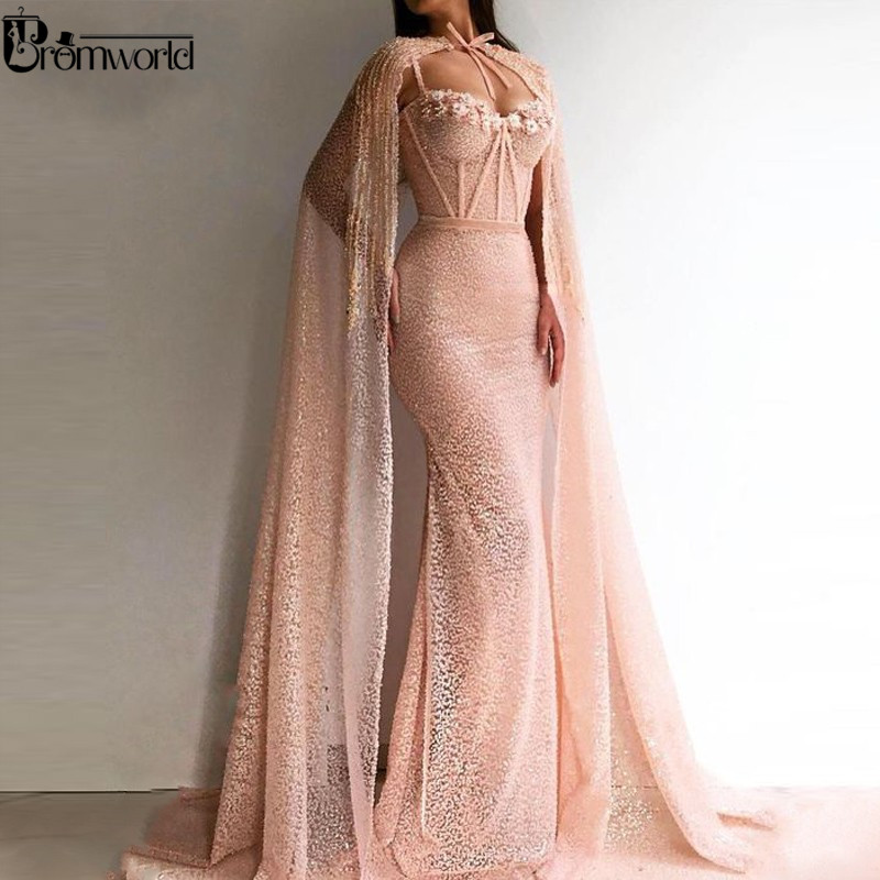 Elegant Mermaid Evening Dress With Cape Sequined Sweetheart Beading Flowers Pink 2020 Prom Dresses Long Arabic Formal Gowns