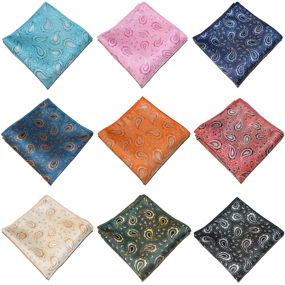 Men Paisley Printed Hanky Pocket Square Wedding Party Business Handkerchief BWTYX0335
